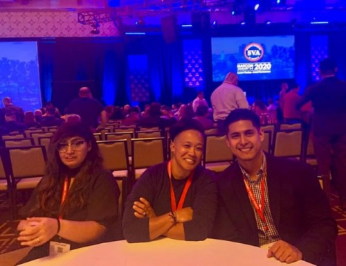 """UST Veteran Students (Left and Middle): Dora Jean """"DJ"""" Jomadiao and Jose Olvera at the conference in LA."""
