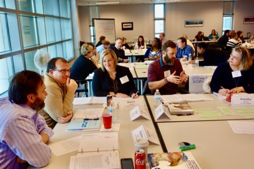 Teachers discuss best techniques for teaching the constitution at the February 2020 Street Law workshop in St. Louis.