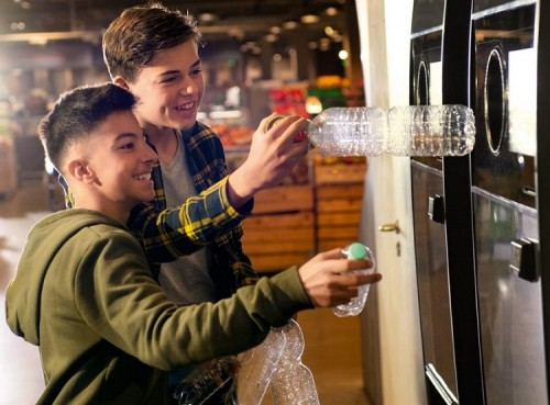 reverse vending machines in use