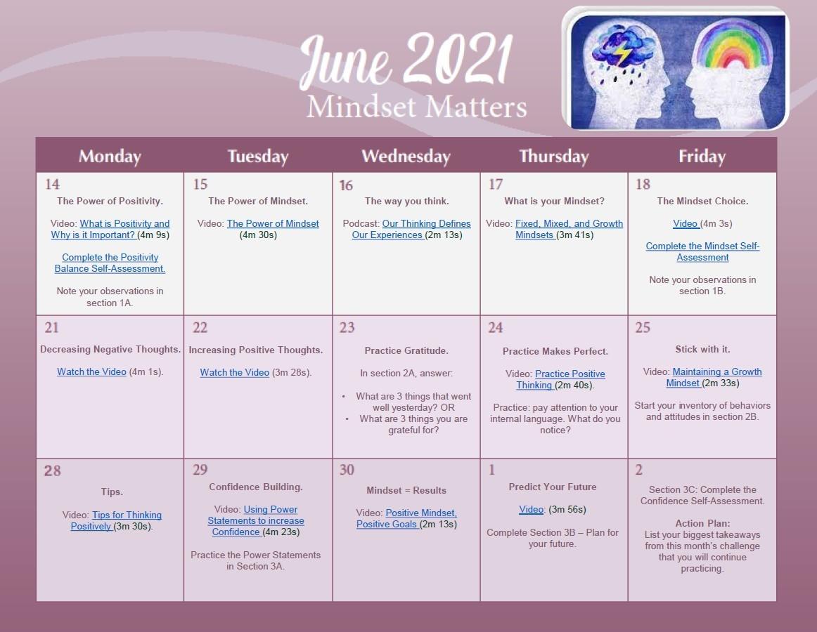 June 2021 Calendar: Mindset Matters
