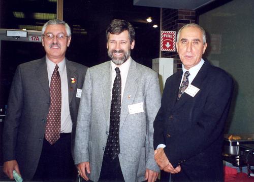 (l-r) Brian Goodman (past Registrar), Fred Deys, Cal Haddad (past President) at 2005 Retiree Luncheon