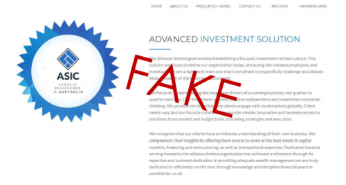 ASIC's logo being displayed falsely on Alliance Limited's website