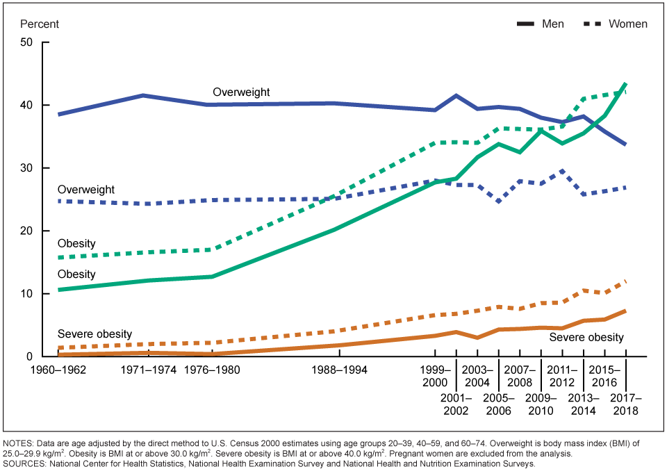 Graph of US obesity rates from 1960-present.