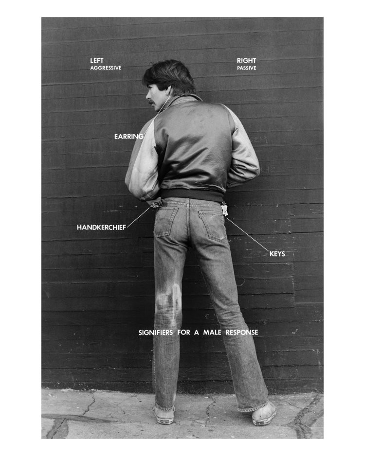 Hal Fischer, Signifiers for a Male Response from Gay Semiotics , 1977. Carbon pigment print, 20 x 16 inches. Museum purchase, 2021.20.1. Photo credit: Courtesy of the artist and Project Native Informant, London, © Hal Fische
