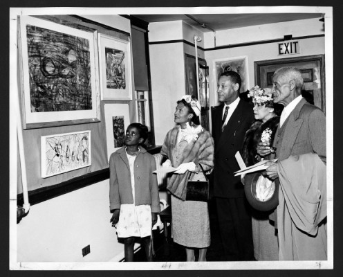 Opening, 16th Annual Art Exhibition, 1957. Atlanta University Photographs Collection,  Atlanta University Center Robert W. Woodruff Library.